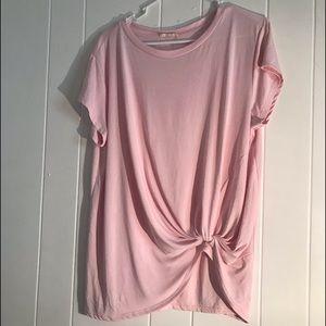 🍒Hummingbird silky side tie short sleeve blouse